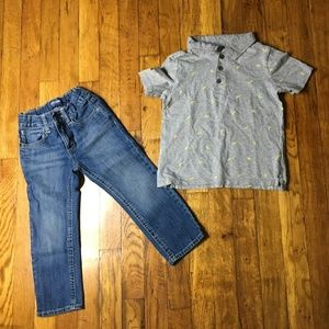 Boys Old Navy Short Sleeve Pullover and Blue Jeans